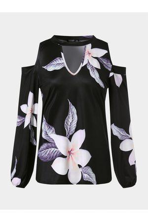 YOINS Random Floral Print Cold Shoulder Long Sleeves Tee