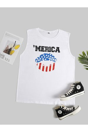 YOINS Plus Size Round Neck Letter Star Independence Day Tank Top