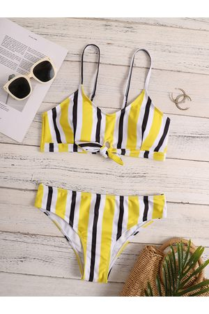 YOINS Multicolor Striped Twist Design Bikini Set