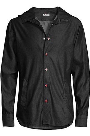 Kiton Men Denim - Hooded Denim Shirt-Jacket