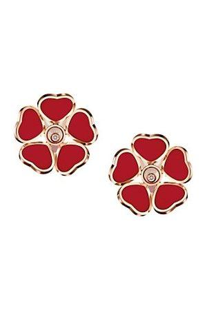 Chopard Happy Diamonds Happy Hearts Flowers 18K Rose Gold, Diamond & Stone Earrings