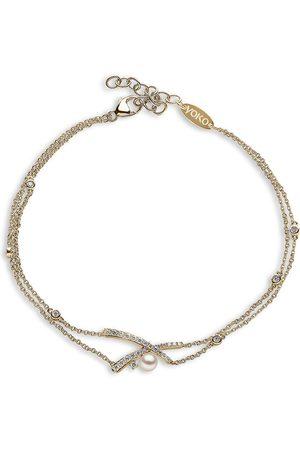 Yoko London 18kt yellow Sleek Akoya pearl and diamond bracelet
