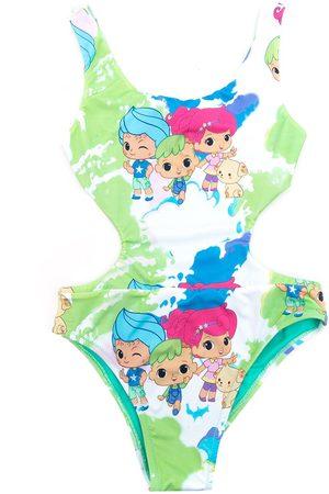 AMIR SLAMA Cartoon print paint swimsuit