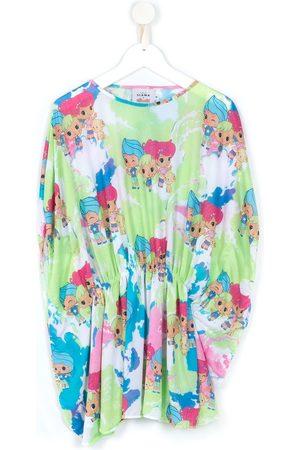 AMIR SLAMA Girls Casual Dresses - Cartoon pattern draped dress