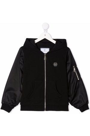 Philipp Plein Contrast hooded bomber jacket