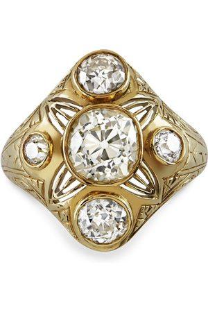 Pragnell Vintage 15kt yellow Victorian diamond cluster ring