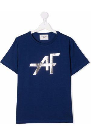 Alberta Ferretti TEEN metallic-logo print T-shirt