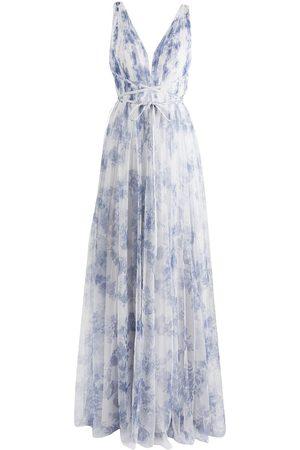 Marchesa Notte V-neck floor-length gown