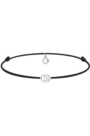 COURBET 18kt recycled white gold LET'S COMMIT carbone black cord and diamond bracelet