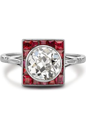 Pragnell Vintage Platinum Art Deco ruby plaque and diamond ring