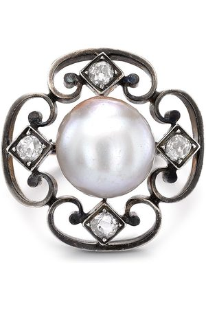 Pragnell Vintage 18kt white and rose gold Belle Époque pearl and diamond ring
