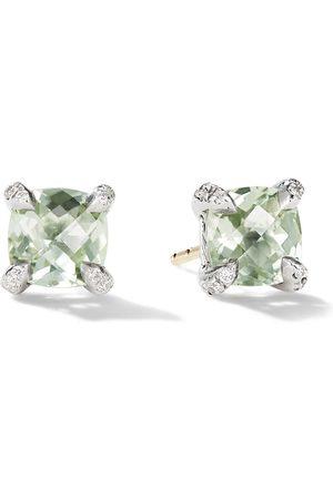 David Yurman 6mm sterling silver Chatelaine prasiolite and diamond stud earrings
