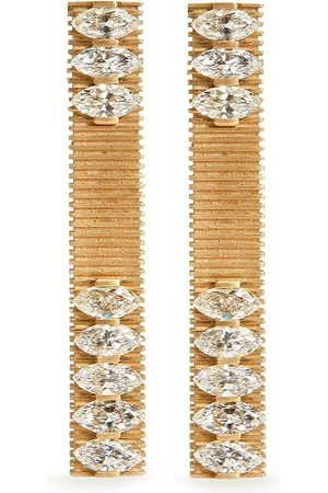 DINA KAMAL 18kt yellow marquise diamond bar earrings