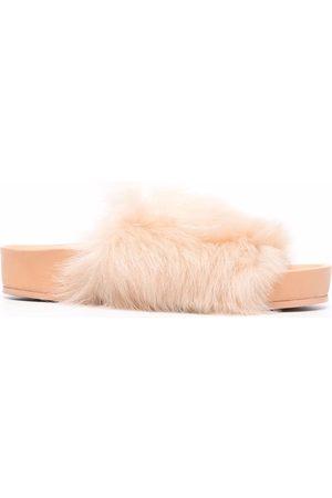 Jil Sander Shearling-strap slide sandals