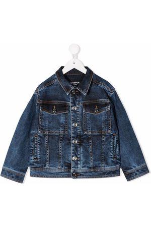 Balmain Boys Denim Jackets - Dyed logo-print denim jacket