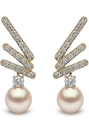 Yoko London 18kt yellow Sleek Akoya pearl diamond stud earrings