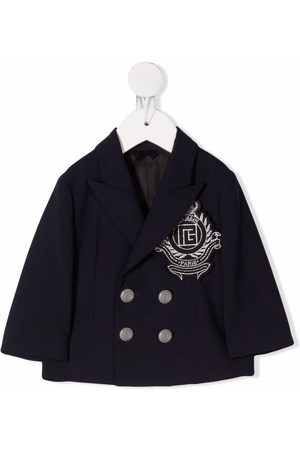 Balmain Double-breasted logo-embroidered jacket