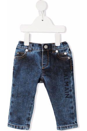 Balmain Baby Jeans - Logo-print distressed-effect jeans