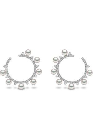 Yoko London 18kt white gold Sleek Akoya pearl diamond hoop earrings