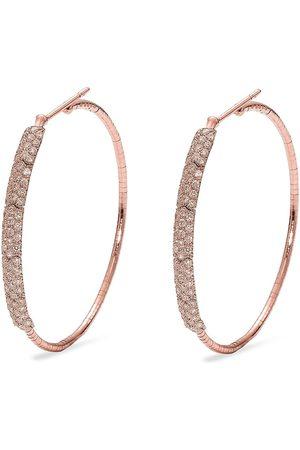 Mattia Cielo Women Earrings - 18kt rose gold and titanium Rugiada cognac diamond hoop earrings