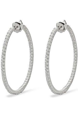 Mattia Cielo 18kt white gold and titanium Rugiada front and back diamond hoop earrings