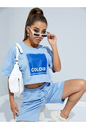 YOINS Letter Short Sleeves Crop Two Pieces Outfit