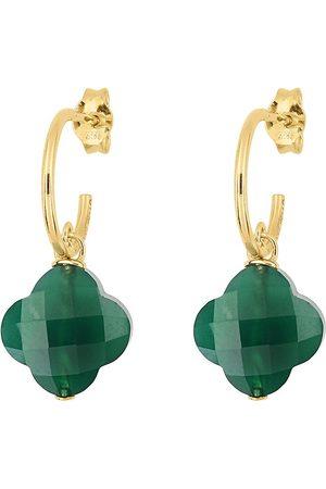 MORGANNE BELLO Women Earrings - 18kt yellow clover agate hoop earrings