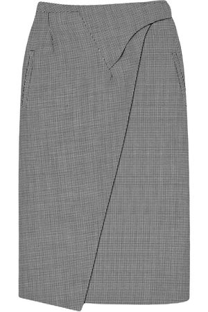 WARDROBE.NYC Houndstooth print wrap midi skirt