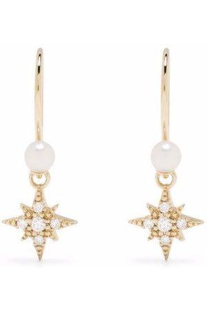 Mizuki Women Earrings - 14kt yellow pearl diamond small star earrings