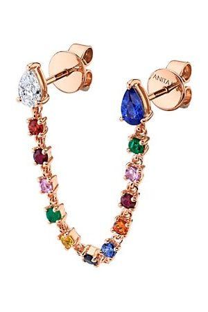Anita Earrings - 18K Rose , Multicolor Sapphire & Diamond Double Piercing Earring Loop