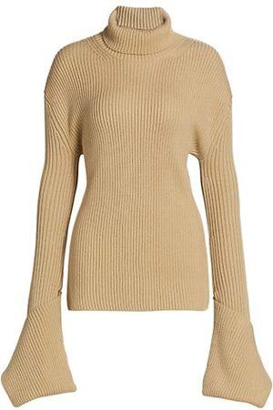 ST. JOHN Women Turtlenecks - Bell-Cuff Ribbed Wool Turtleneck