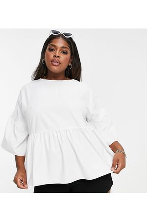 Simply Be Women Tops - Smock top with frill sleeves in