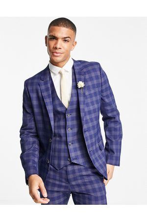 ASOS Wedding skinny suit jacket in and grey bold check
