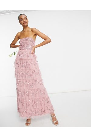 Maya Bandeau all over embellished tiered maxi dress in rose