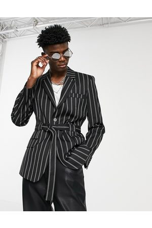 ASOS Belted skinny suit jacket with stripe in