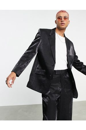 ASOS Power shoulder suit jacket in high shine fabric