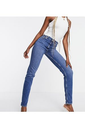 ASOS ASOS DESIGN Tall high rise 'farleigh' slim mom jeans in authentic midwash