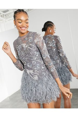 ASOS Pearl and sequin floral mini dress with feather hem