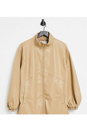 ASOS Tall faux leather bomber jacket in camel