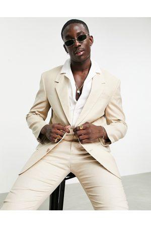 ASOS Oversized suit jacket in neutral linen mix