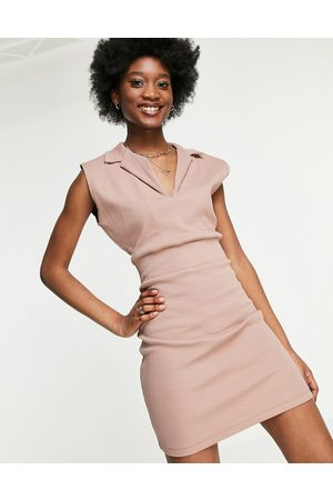 ASOS Sleeveless ribbed mini dress with collar in taupe-Neutral