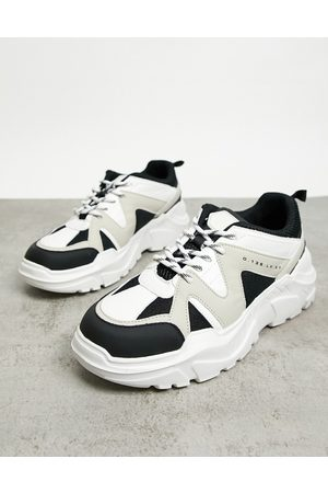 River Island Chunky trainer in stone with black detailing-Neutral