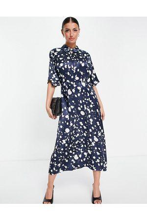 SELECTED Femme midi dress in blue mono print-Multi