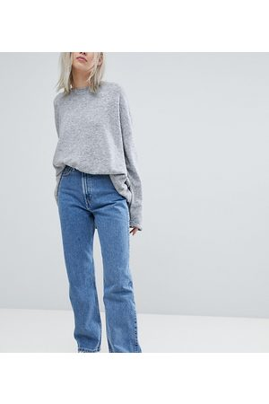 Weekday Rowe super high waist straight leg jeans in mid sky