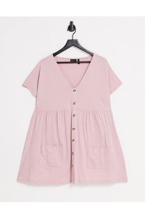 ASOS Button through mini smock dress with pockets in rose