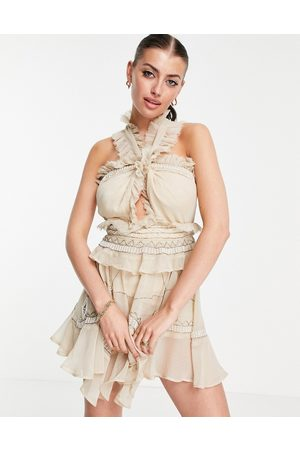 ASOS Halter embellished tiered mini dress with raw edge detail-Neutral
