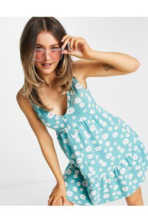 ASOS Button through smock dress in daisy floral print