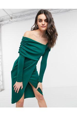 ASOS Bare shoulder wrap pencil midi dress in forest green