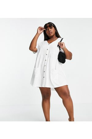 ASOS Curve button through mini smock dress with pockets in