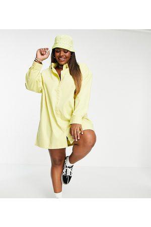 COLLUSION Plus oversize twill mini shirt dress in
